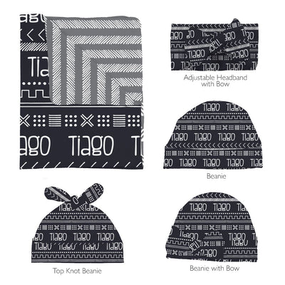 Tiago's Charcoal Tribe | Swaddle and Hat Set