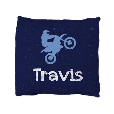 Travis's Daring Dirt Bike | Big Kid Throw Pillow