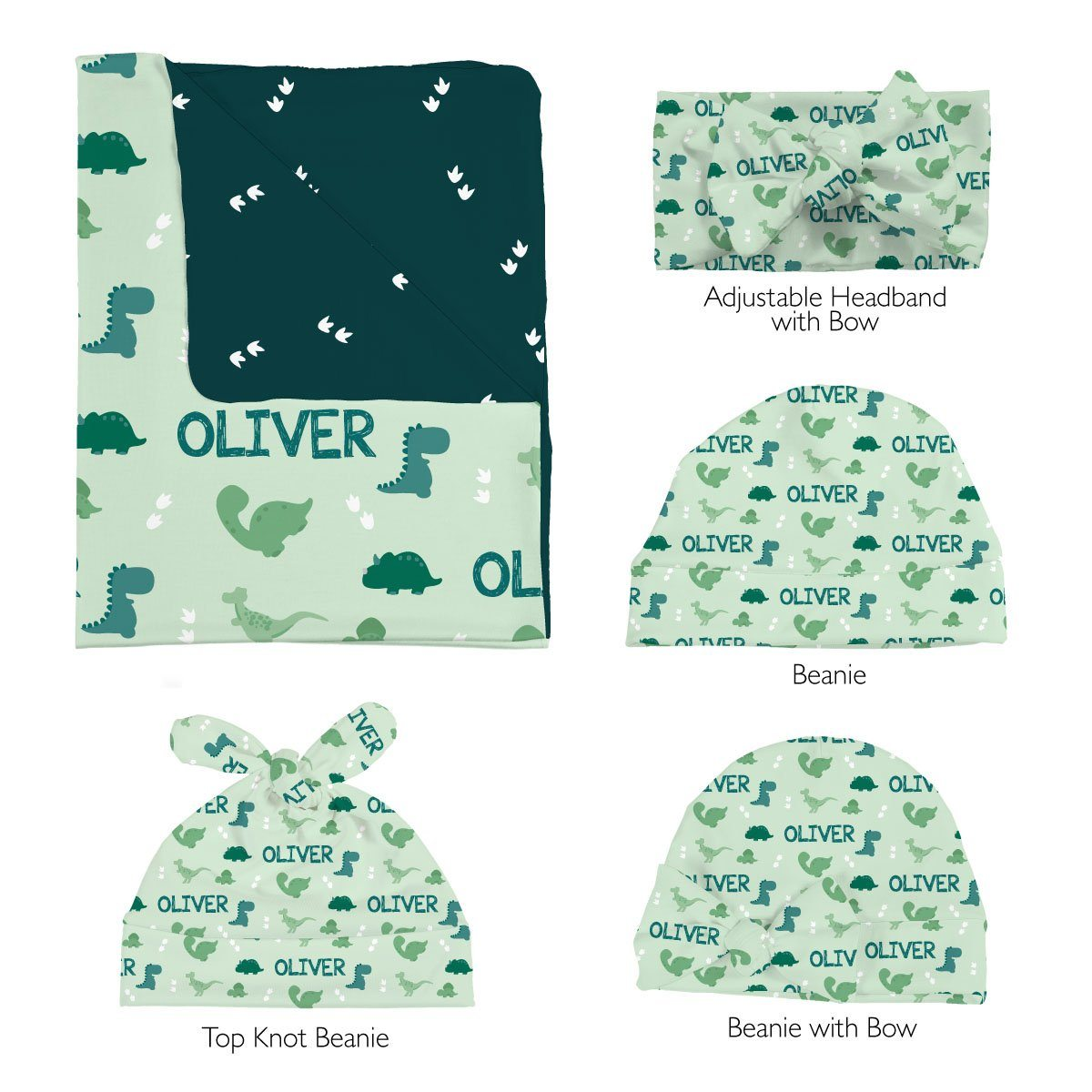 Ty's Dino Tracks | Swaddle and Hat Set