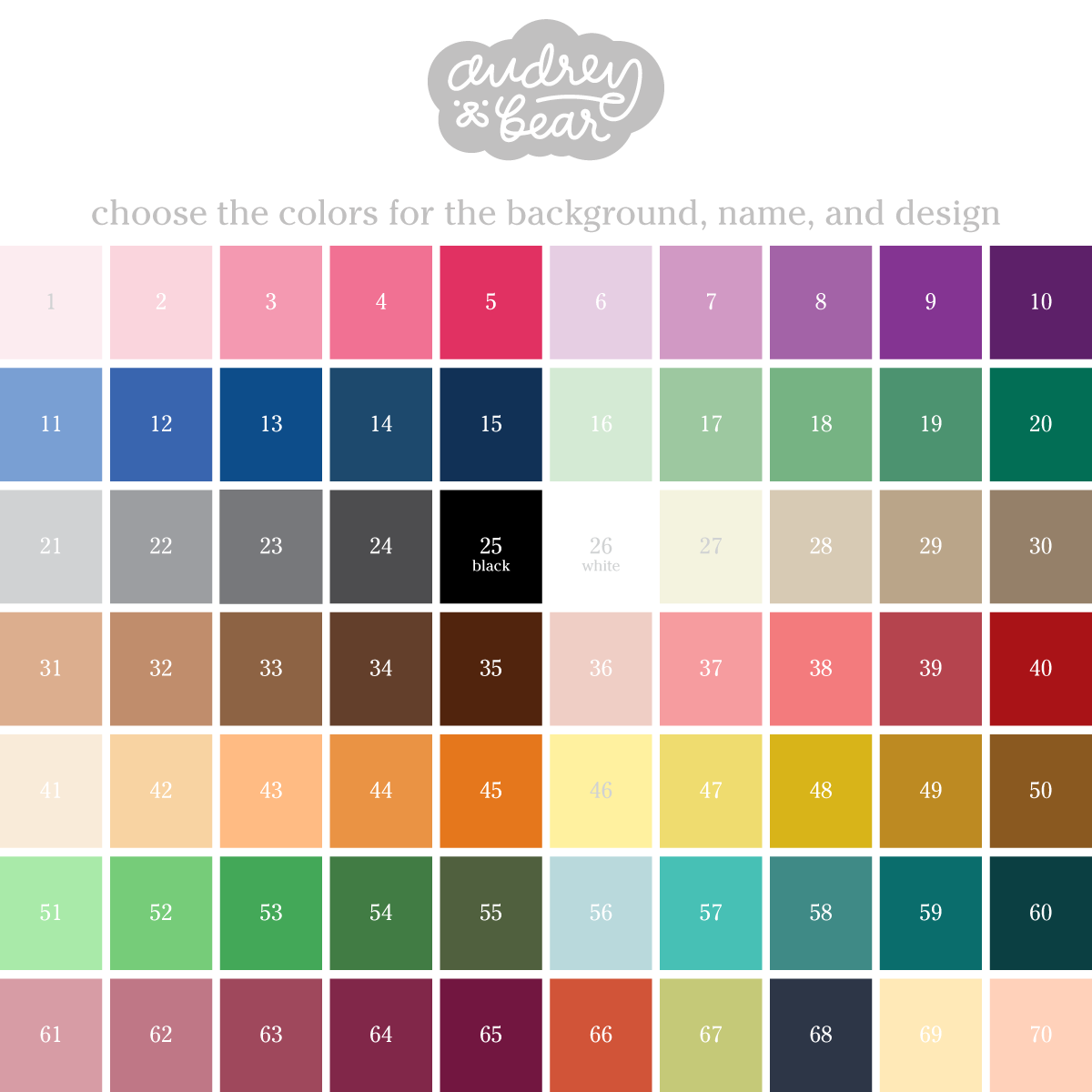Audrey & Bear Color Chart