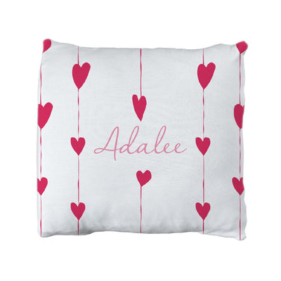 Adalee's Valentine Hearts | Big Kid Throw Pillow