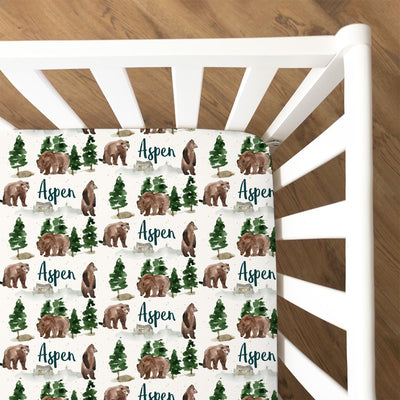Aspen's Brown Bear | Fitted Crib Sheet