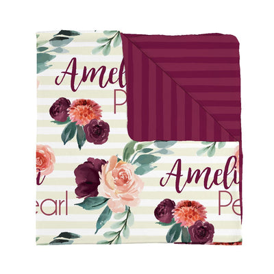 Double sided Autumn Rose personalized baby blanket.