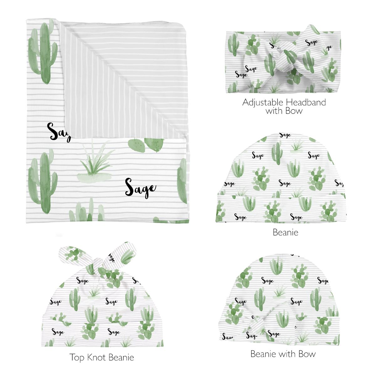 Tera's Earthy Cactus | Swaddle and Hat Set