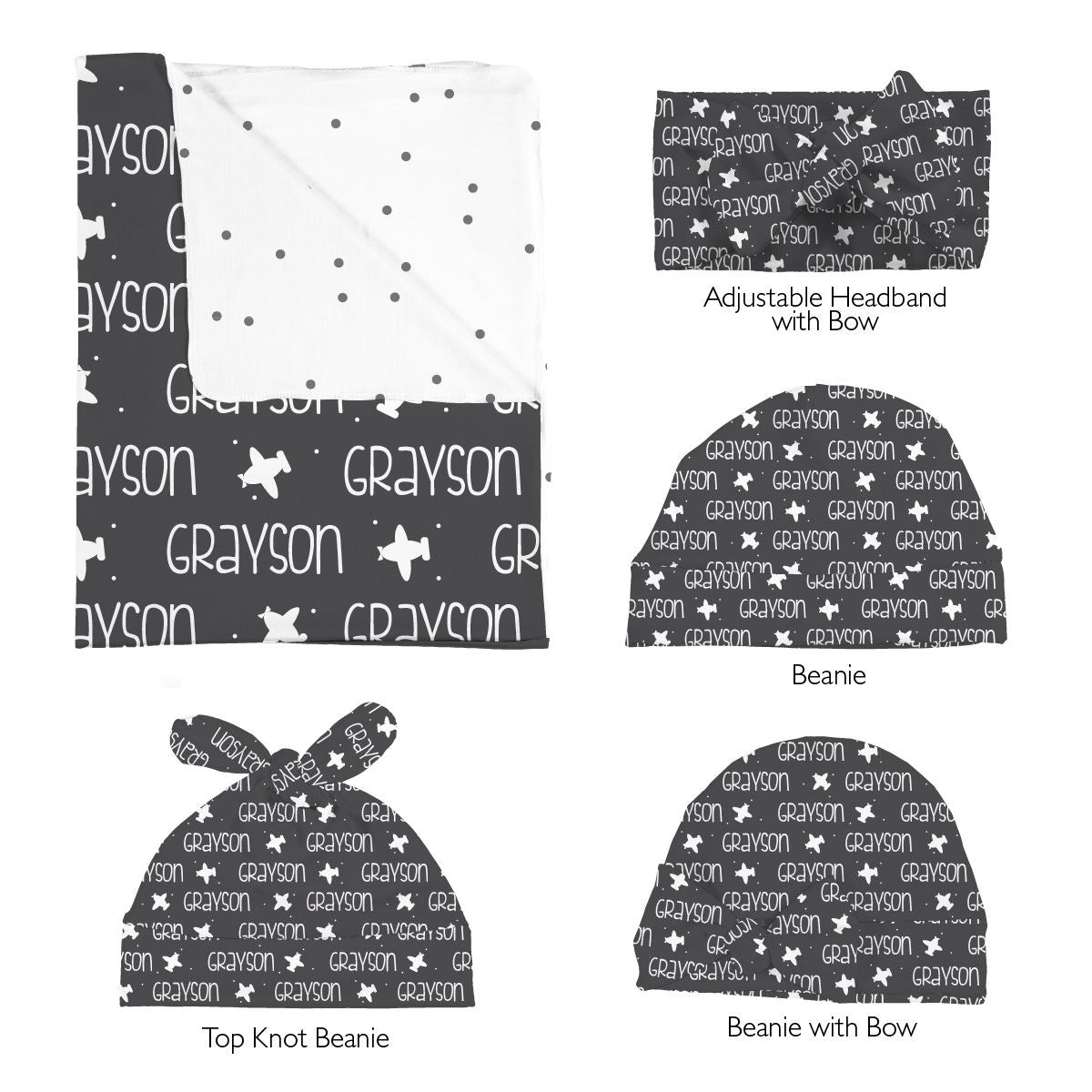 Grayson's Airplanes | Swaddle and Hat Set
