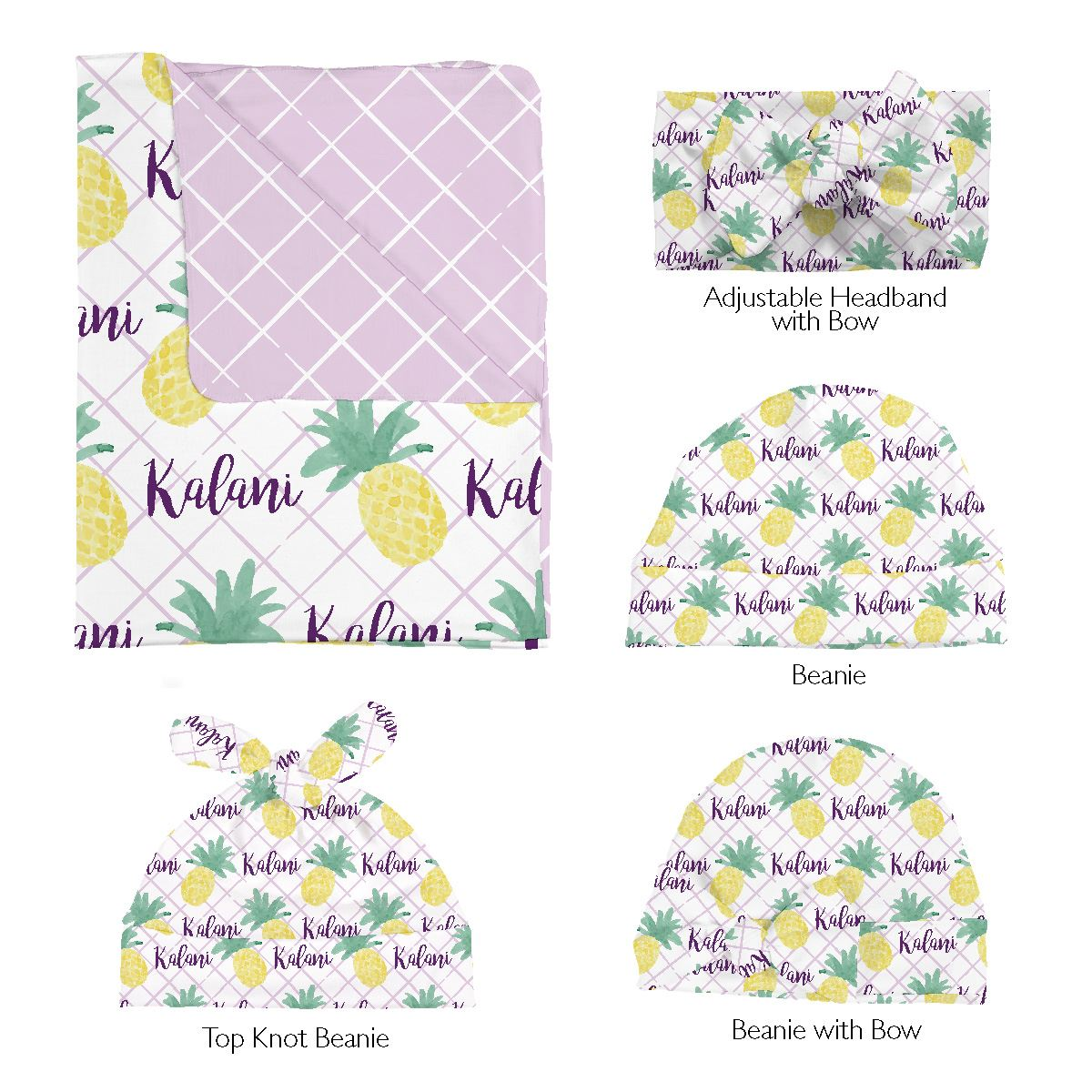 Kalani's Island Pineapple | Swaddle and Hat Set