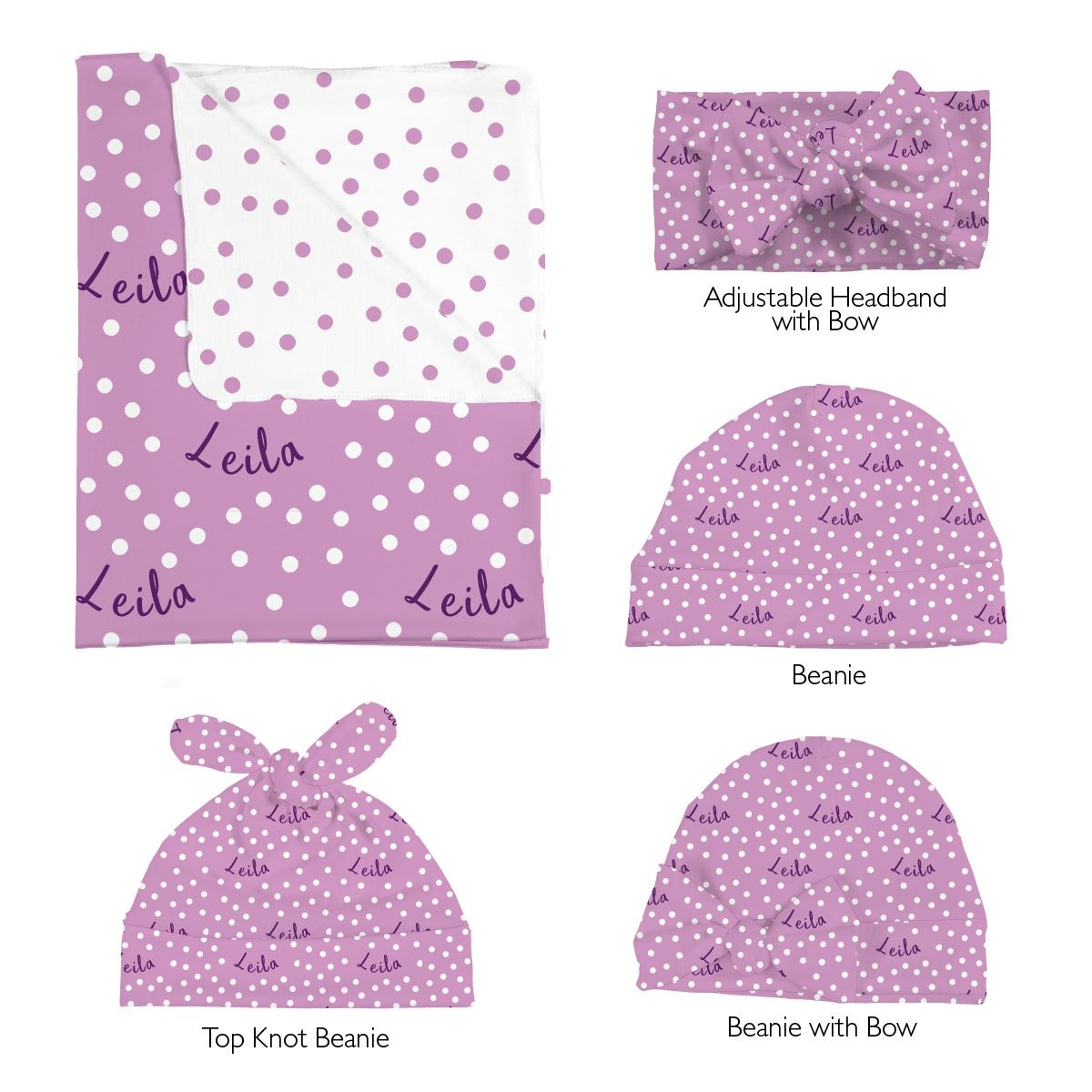 Leila's Small Dots | Swaddle and Hat Set