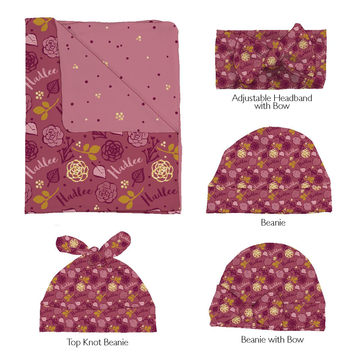 Hadlee's Plum Floral | Swaddle and Hat Set