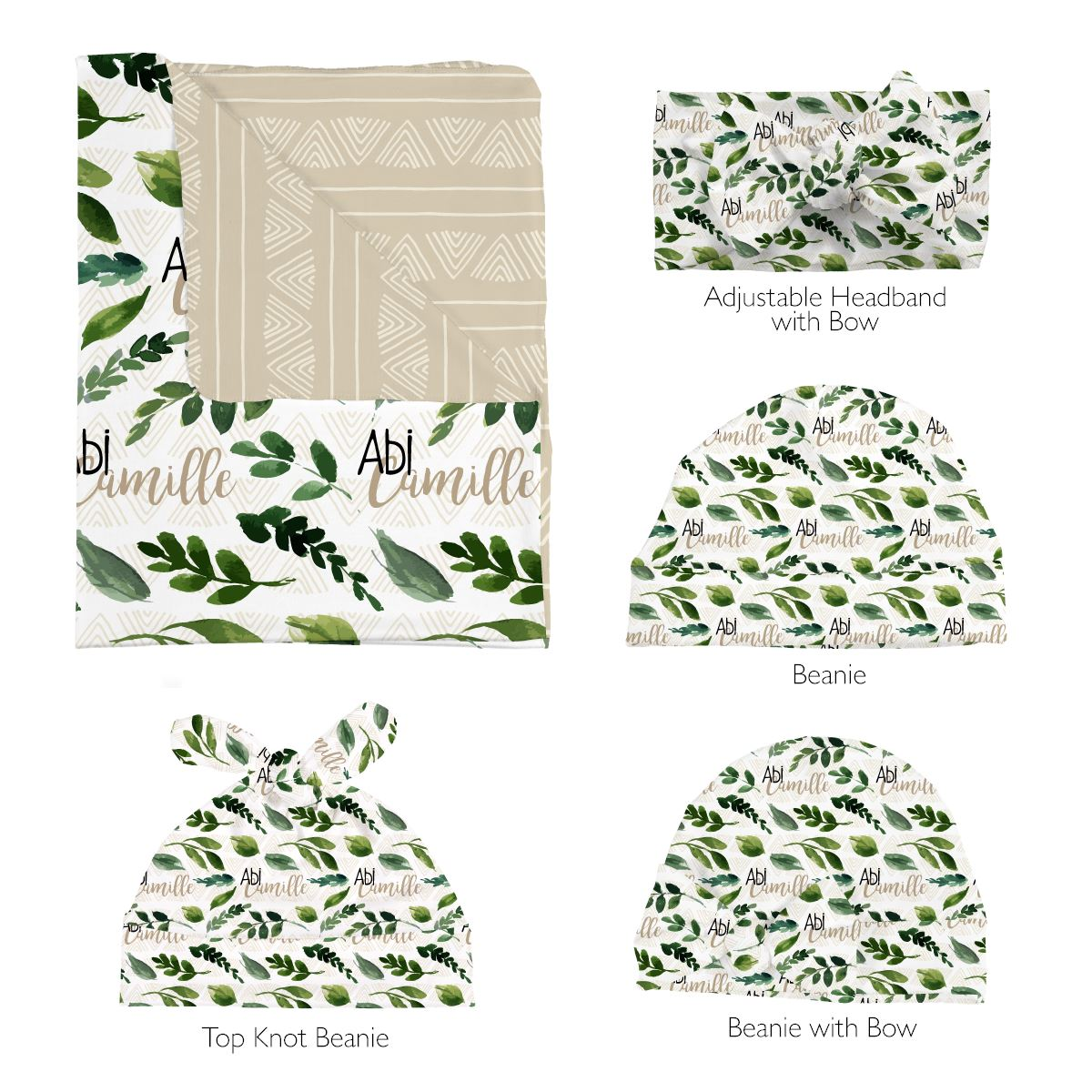 Abi's Sketchy Greenery | Swaddle and Hat Set