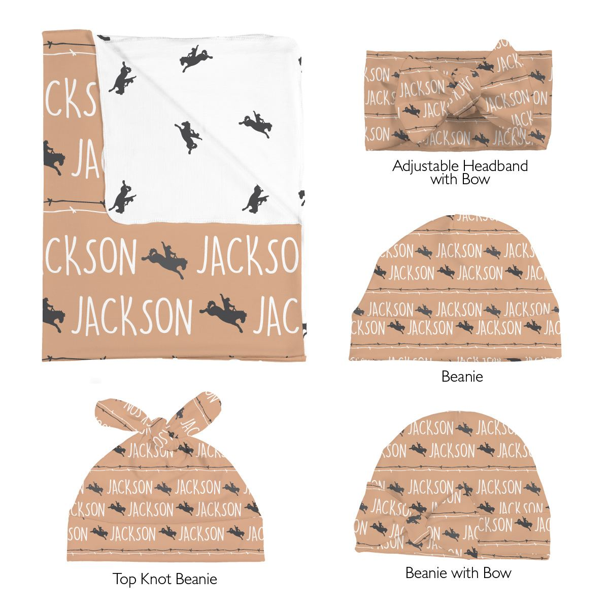 Jackson's Bucking Bronco | Swaddle and Hat Set