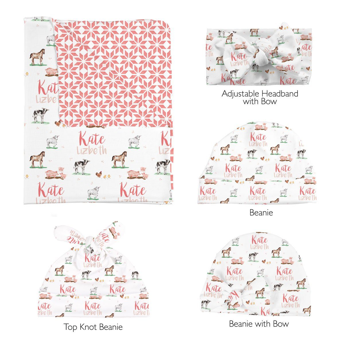 Hannah's Farm Animals | Swaddle and Hat Set