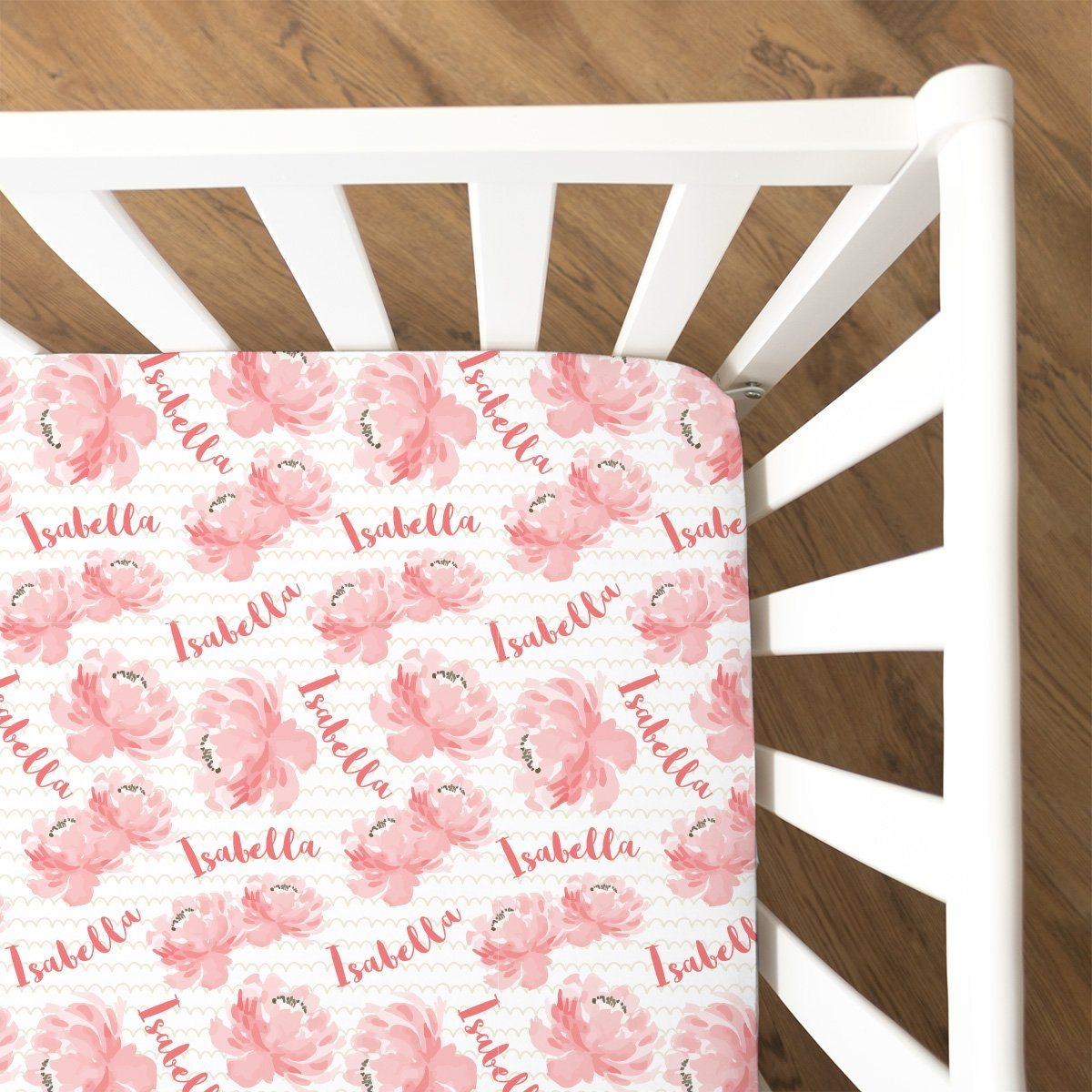 Isabella's Scallops and Peonies | Fitted Crib Sheet