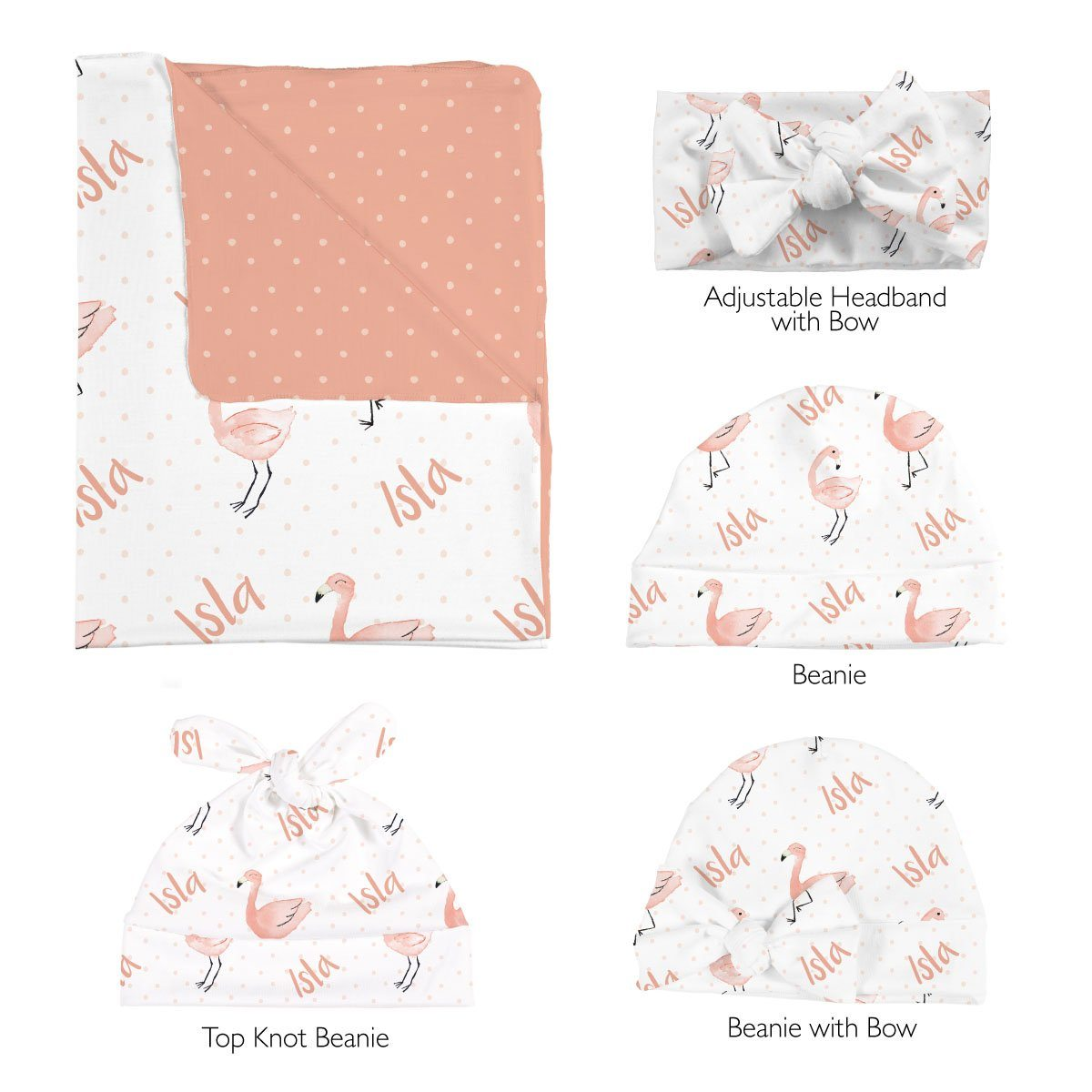 Isla's Fancy Flamingo | Swaddle and Hat Set