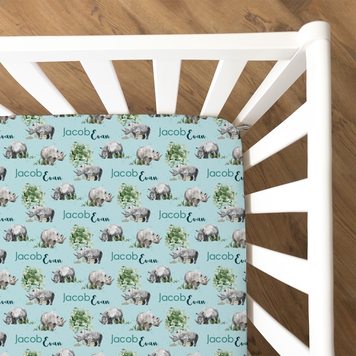 Jacob's Mighty Rhino | Fitted Crib Sheet