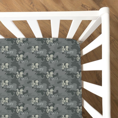 Jett's Graphite Camo | Fitted Crib Sheet