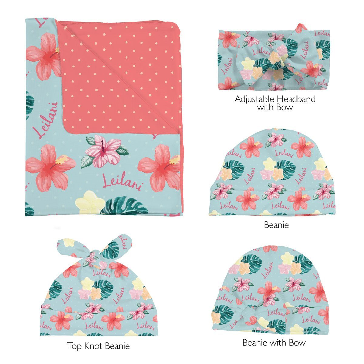 Leilani's Hawaiian Floral | Swaddle and Hat Set