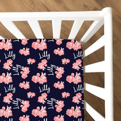 Maya's Navy Vintage Floral | Fitted Crib Sheet