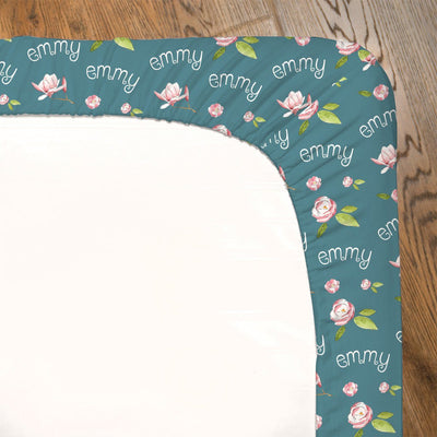 Nora's Painted Magnolia | Fitted Crib Sheet
