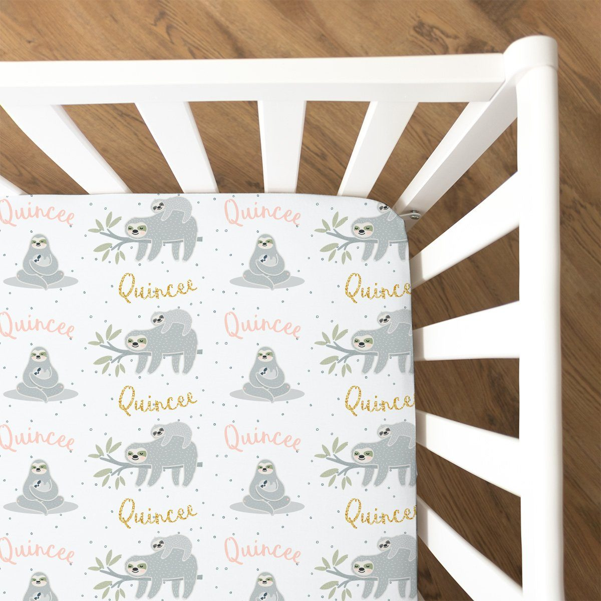 Quincee's Mama Sloth | Fitted Crib Sheet