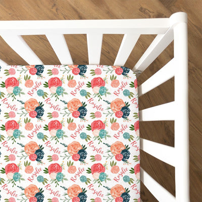 Rosalee's Blush & Blue Floral | Fitted Crib Sheet