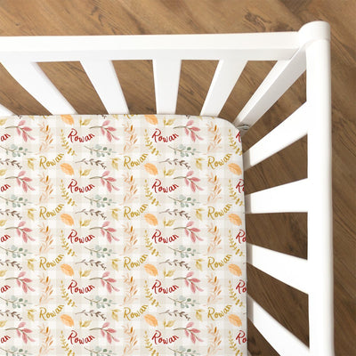 Rowan's Fall Leaves | Fitted Crib Sheet