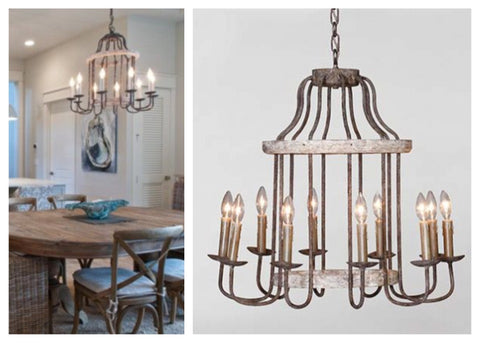 Of gabby home comes the adele chandelier it has a two tiered distressed wood center and has 10 iron arms that provide plenty of light rustic