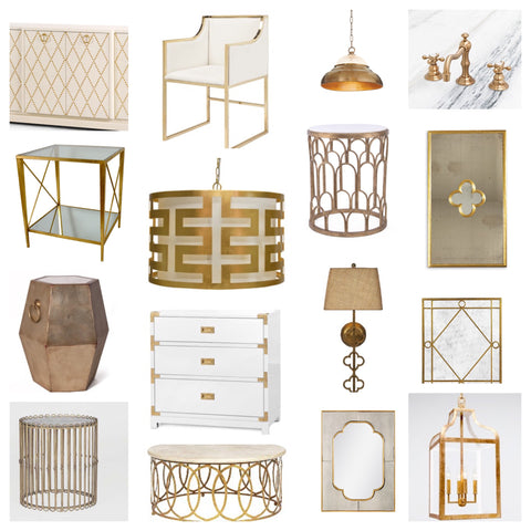 Brass Home Decor. Gold leaf light fixtures and end tables. Brass and gold leaf accents