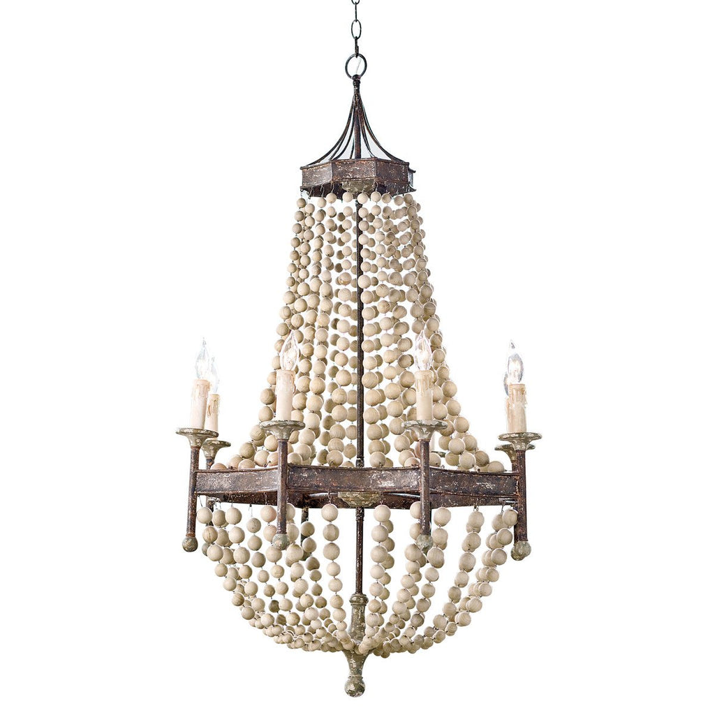 Cream Wood Bead Chandelier - Sarah Virginia Home