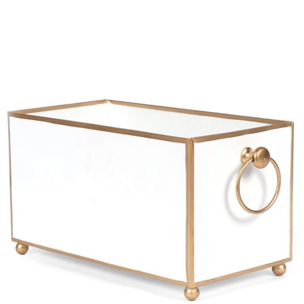 White and Gold Cache Pot (Rectangle) - Sarah Virginia Home