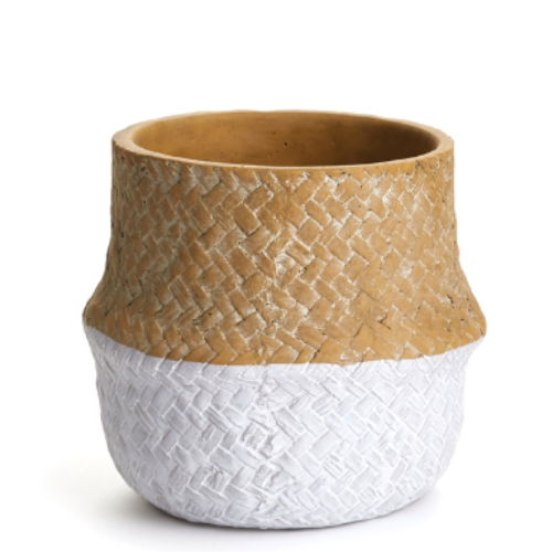 Two Tone Basketweave Belly Pot - Sarah Virginia Home