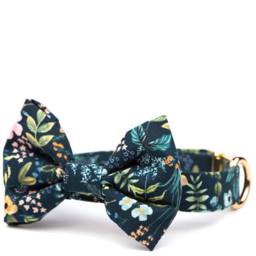 Navy Floral Bow Tie Collar (Dog) - Sarah Virginia Home