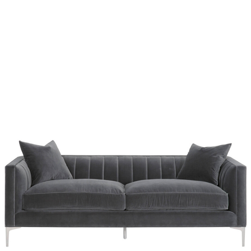 "84"" Channel Sofa (Gray Velvet) - Sarah Virginia Home"