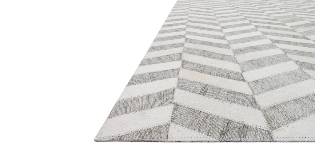 Gray and White Herringbone Rug - Sarah Virginia Home