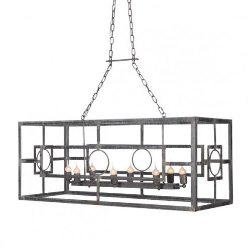 Iron Circle Rectangle Lantern - Sarah Virginia Home