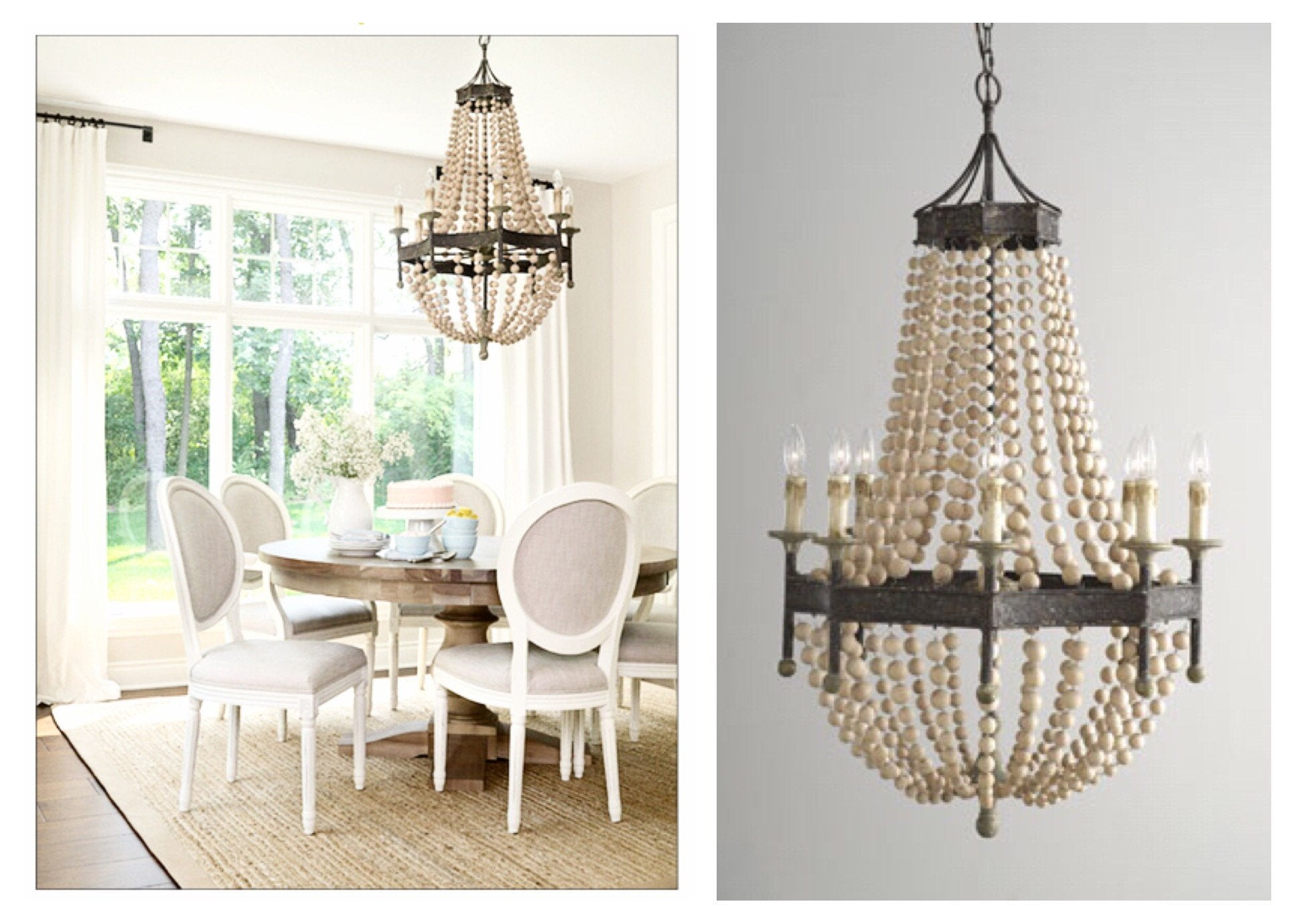 Cream wood bead chandelier cream wood bead chandelier sarah virginia home aloadofball Image collections