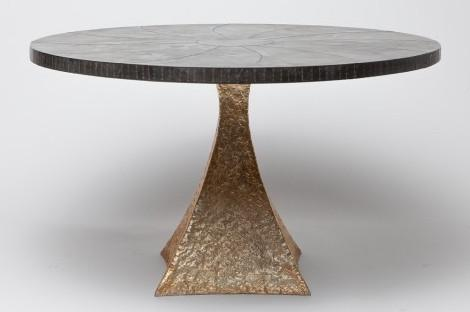 Black and Metallic Iron Round Dining Table - Sarah Virginia Home