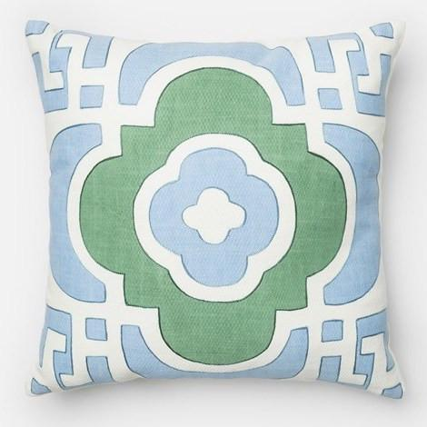 Blue and Green Quatrefoil Pillow - Sarah Virginia Home