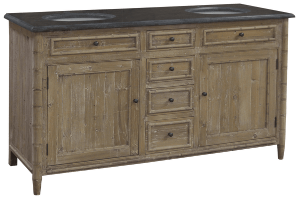 Double Bamboo Detail Bathroom Vanity - Sarah Virginia Home