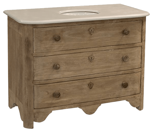 Reclaimed Oak and Marble Vanity - Sarah Virginia Home