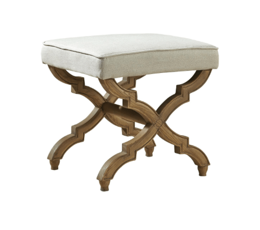 Linen and Oak Footstool - Sarah Virginia Home