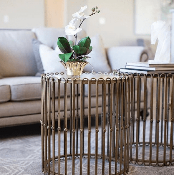 Gilded Iron Side Table - Sarah Virginia Home