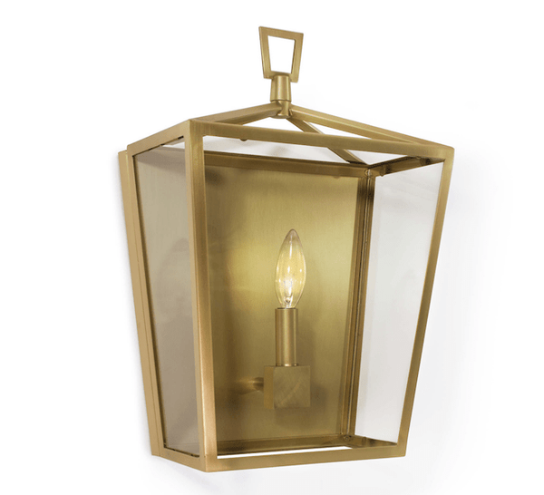 Natural Brass Lantern Sconce - Sarah Virginia Home