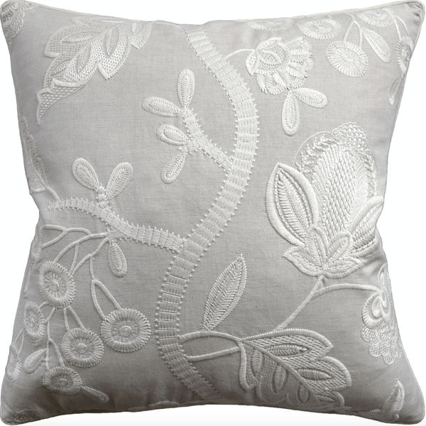 Annabelle Embroidered Cream Pillow - Sarah Virginia Home