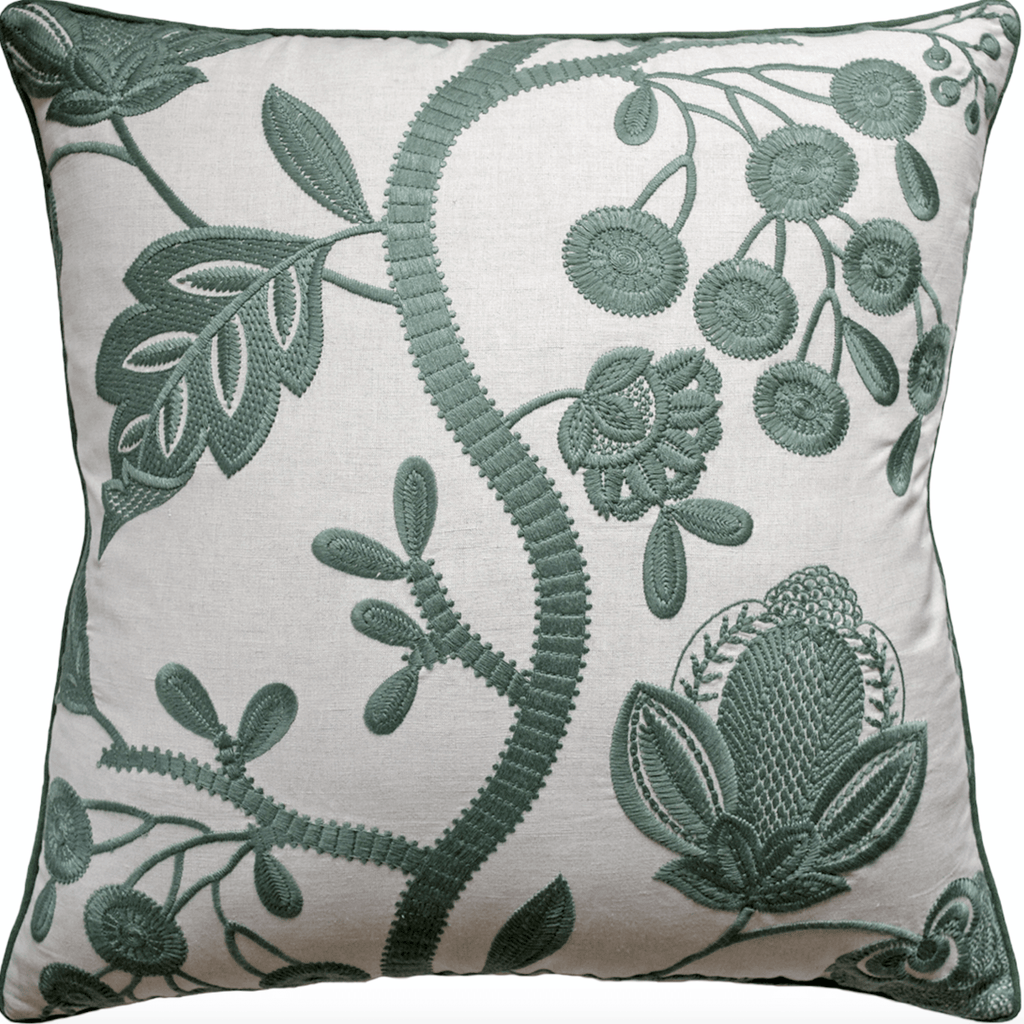 Annabelle Embroidered Jade Pillow - Sarah Virginia Home