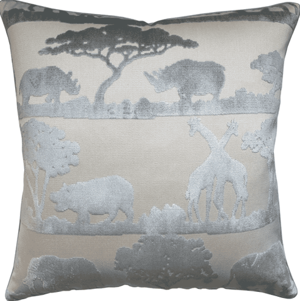 Velvet Safari Pillow (Ice Blue) - Sarah Virginia Home