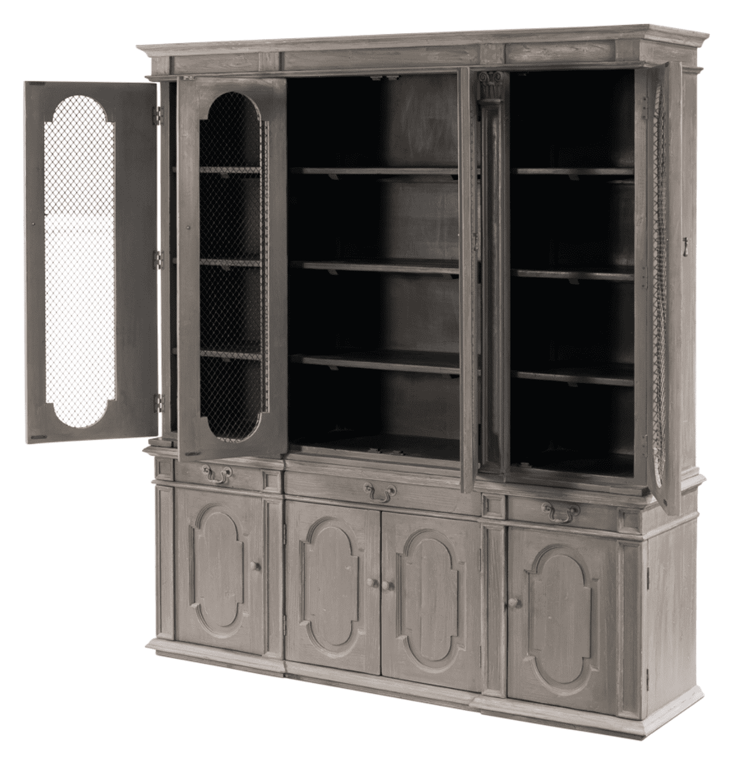 Ashburne Cabinet   Grey China Cabinet With Steel Mesh   Sarah Virginia Home