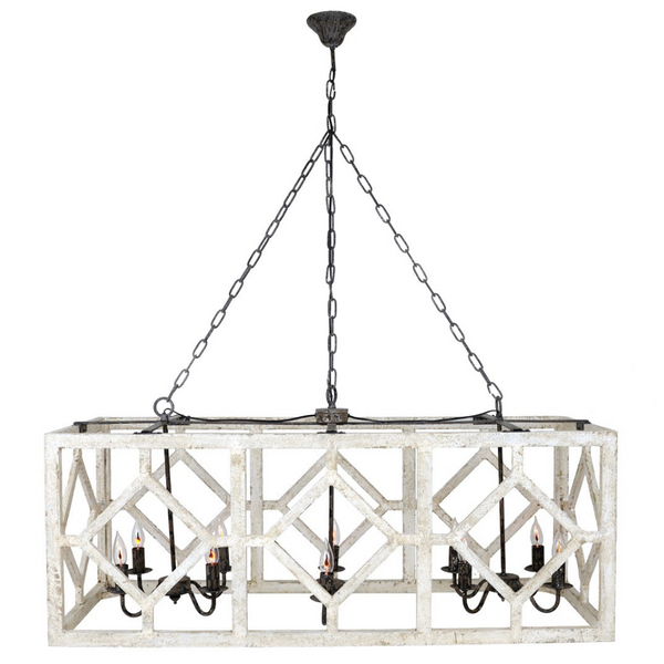 Geometric Rectangle Chandelier (Old White) - Sarah Virginia Home