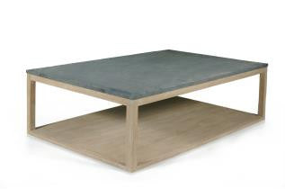 Wood and Stone Coffee Table - Sarah Virginia Home