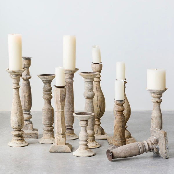 Found Wood Candlesticks (Set of 6) - Sarah Virginia Home