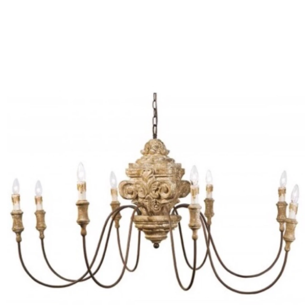 Antique Wood Carved Chandelier - Sarah Virginia Home